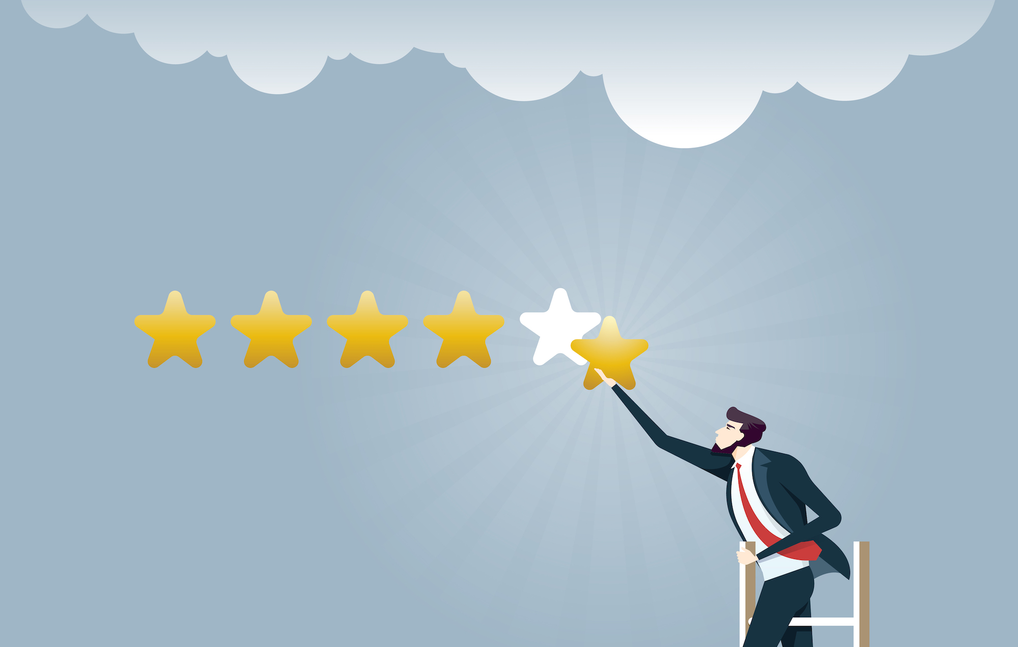 Businessman giving five star rating - Business concept vector
