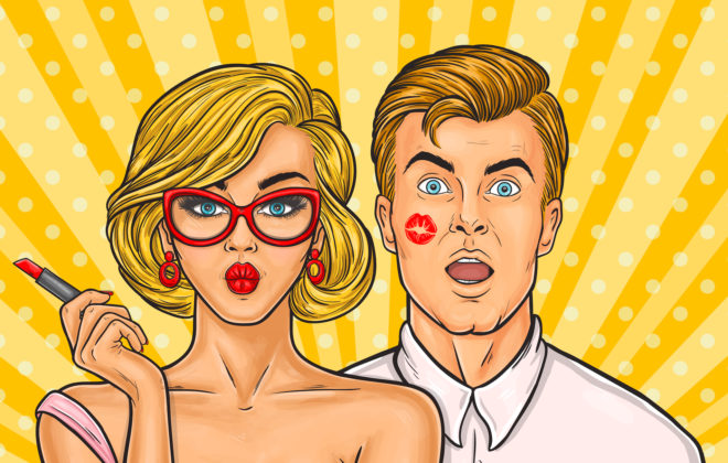 Vector pop art illustration of sexy woman with red lipstick kissed a man