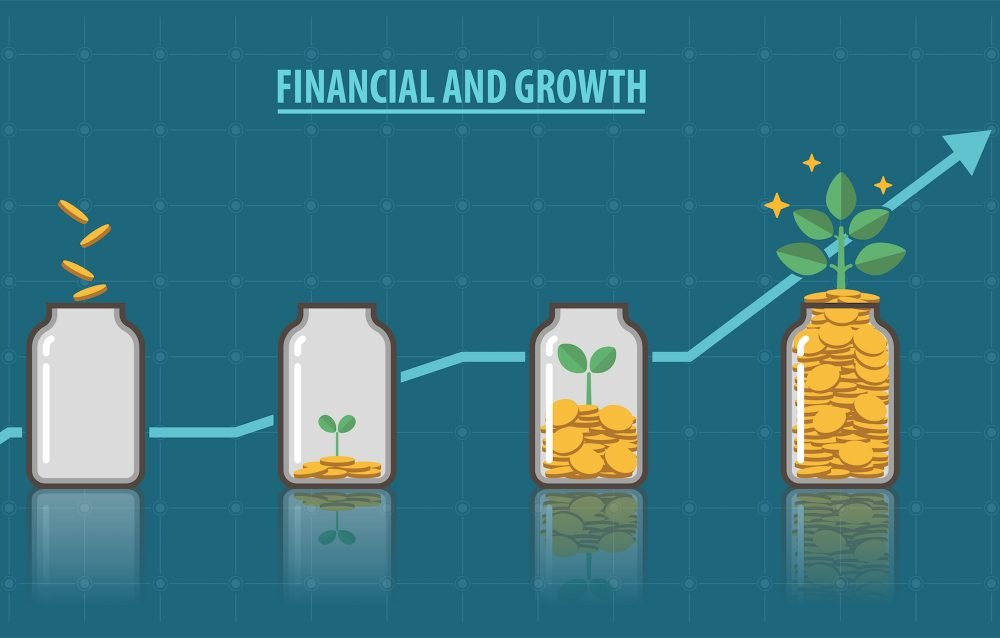 image shows jars of money growing from left to right